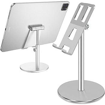 Salandens Soporte Tablet/teléfono (telescópico, Ajustable, Soporte Universal de Aluminio multiángulo, Compatible con iPhone, Smartphones, tabletas, iPad de 4 a 12.5 Pulgadas) (Plata)