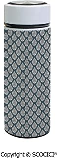 SCOCICI Vacuum Insulated Stainless Steel Water Bottle Flask Royal Renaissance Influences in Antique Style Pattern with Repeating Motifs