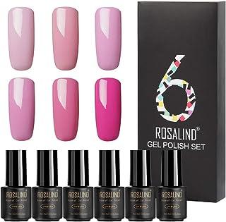 ROSALIND Set de esmalte de uñas de gel semipermanente en colores puros empapado de UV LED 6 unidades 7 ml