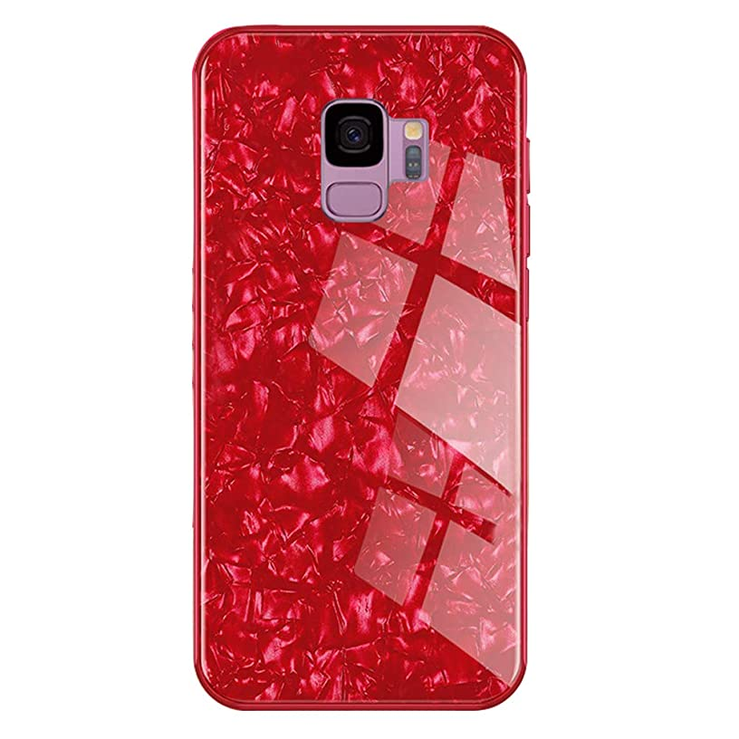 eaLAB s9 Marble Case for Samsung Galaxy s9case Glass Glitter Girly Bling Slim Luxury Cell Phone Sangsum Gaxy 9s Cover 5.8 Inch (Red)