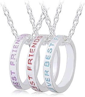 قلادات Kadipress BFF Best Friend لـ 3 بنات أزياء حجر الراين كريستال سبائك القلب مطابقة لغز إلى الأبد وعقد قلادة الصداقة