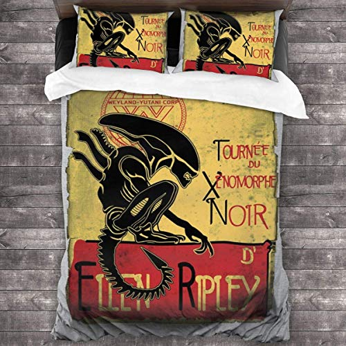 Yuanmeiju Juego de Cama Tournee Du Xenomorphe Noir D Ellen Ripley Alien 3 Pieces Bedding Set Duvet Cover 86x70 Inch Decorative 3 Piece Bedding Set with 2 Pillow Shams