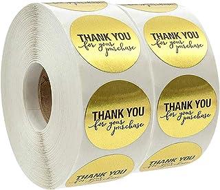 لفة ملصقات بعبارة ثانك يو فور يور بيرتشيس 1000 قطعة بتصميم رقائق معدنية دائرية ذهبية 1 انش