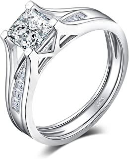 Wedding Rings Wedding Bands Solitaire Engagement Rings for Women 1ct Princess Cubic Zirconia 925 Sterling Silver Anniversary Promise Channel Bridal Ring Sets