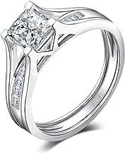 JewelryPalace Anillos Conjunto de Boda 1ct Princesa Corte Con Zirconia Cúbica Aniversario Bandaa Solitario Compromiso Nupcial de Canal Plata de ley 925
