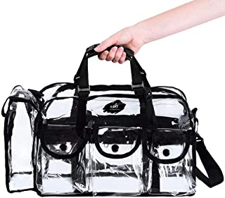 Large Clear PVC makeup organiser Toiletry bag portable Storage with Adjustable Strap 6 large Pockets and 1 tissue box slee...