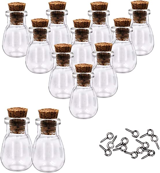 MIGK 12pcs Mini Tiny Clear Glass Jars Bottles Small Charm Vials With Cork Stoppers And Eye Screws For Party Favors Decoration 1ml Empty Sample Jars Message Pendant Wish Bottle Waterdrop Shape