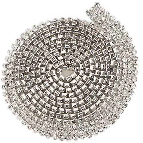 Kristallen strassketting, DIY applicatie kleding naaien handwerk bling diamant sieraden klauw ketting decoraties, voor bruiloft bruidsjurk kostuums kledingstukken taart meubels decoratie (3 mm 2 rows)