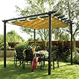 Bosmere PERLAT Rowlinson Latina Free-Standing Aluminum Sun Canopy with Retractable Fabric, Gunmetal Grey