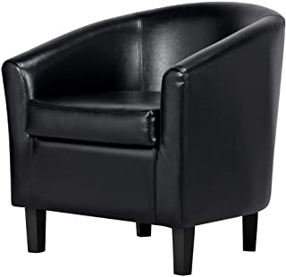 Yaheetech Barrel Chair Faux Leather Club Chair Accent Arm Chair Modern Style Tub Chair for for Living Room Black