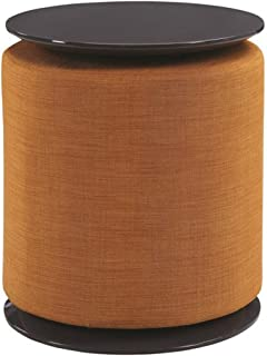 Scott Living Accent Table with Ottoman in High Gloss Grey with Orange Upholstery