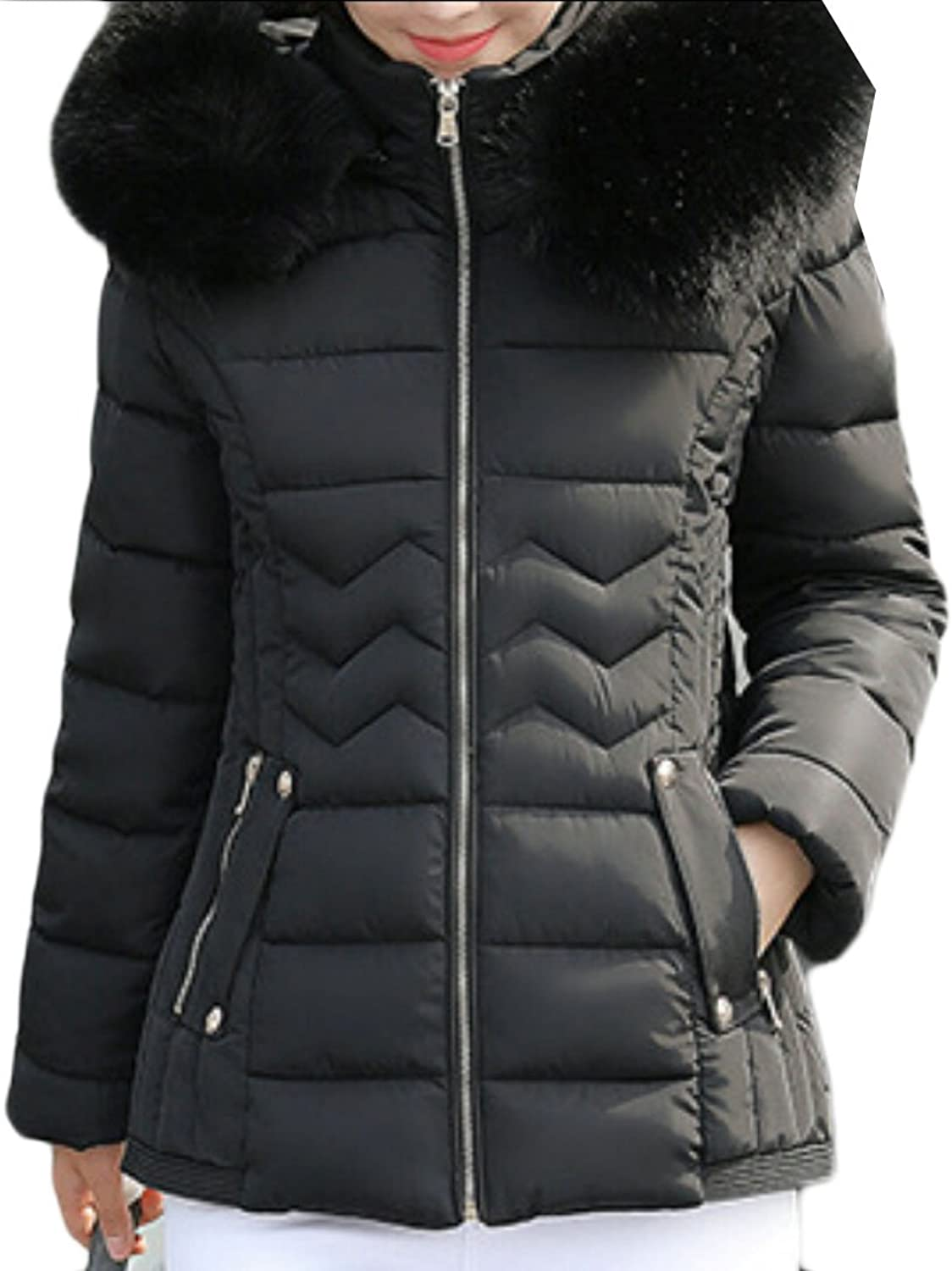 GAGA Women's Stylish Warm Faux Fur Collar Quilted Short Down Jacket Coat