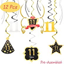 11 Birthday Decoration Happy 11th Birthday Party Silver Black Gold Foil Hanging Swirl Streamers I'm Eleven Years Old Today Birthday Hat Gold Star Ornament Party Present Supplies