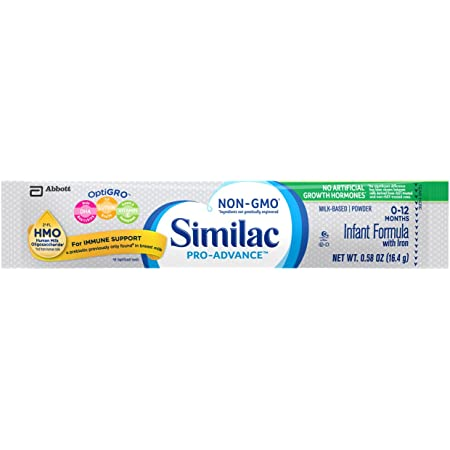 Similac Pro-Advance®* Infant Formula with Iron, with 2'-FL HMO for Immune Support, Non-GMO, Baby Formula Powder, 64-0.58 Oz Packs