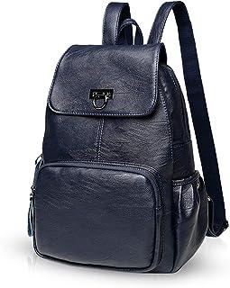 NICOLE & DORIS Damen Lederrucksack Lässiger Damenrucksack für Damen Rucksackbeutel für Damen Dunkelblau
