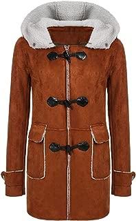 Women Hooded Horn Leather Buckle Faux Fur Fleece Coats Outwear Vintage Warm Jackets