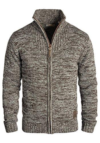 !Solid Pomeroy Herren Strickjacke Cardigan Grobstrick Winter Pullover mit Stehkragen, Größe:L, Farbe:Coffee Bean (5973)