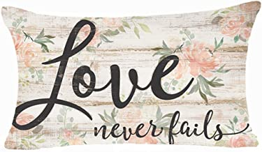 FDROL Love Never Fails Pink Flowers Decoration Retro Wood Background Cotton Linen Cushion Cover Case for Sofa Living Room Family Office Decorative Throw Lumbar Pillow Case 12 X 20 inches
