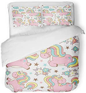 Emvency Bedding Duvet Cover Set Pink Anime Cute Magic Collection Kawaii Unicorns Stars Clouds Flowers Crown of Cartoon Japanese Asian 3 Piece Set with 2 Pillow Shams Queen 90