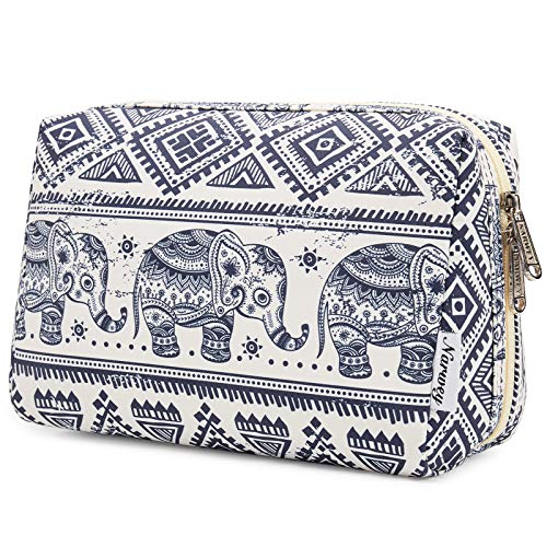 Large Makeup Bag Zipper Pouch Travel Cosmetic Organizer for Women and Girls (Large, Elephant)