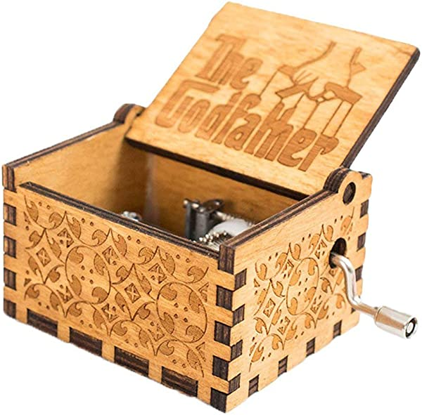FnLy 18 Note Engraved Wooden Godfather Theme Music Box Antique Carved Hand Crank Musical Box Gift Brown