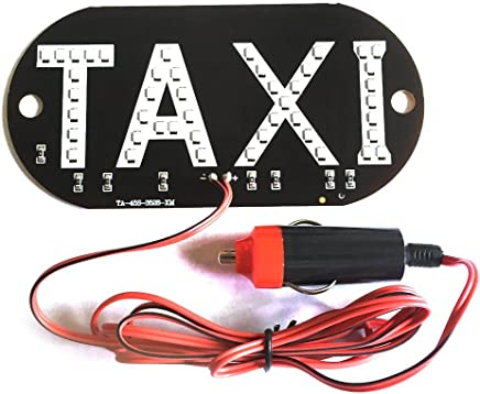 Studyset Taxi Cab Windscreen Windshield Sign LED Light Lamp Bulb with Suction Disc Cigarette Lighter 12V White