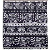 chillChur-DD Shower Curtain Set Tende da doccia Vintage tribale Elefante indiano Tenda da bagno impermeabile Bagno Decorazioni per la casa, 168X183 cm (66X72 pollici) con 12 ganci