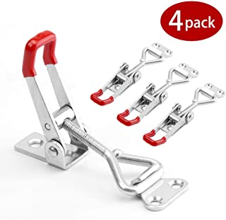 4-Pack Houkiper Pull Latch - Metal Adjustable Door Cabinet Box Case Toggle Latch Hasps Toggle Clamp - 360 Lbs Capacity (S (3.51.10.8