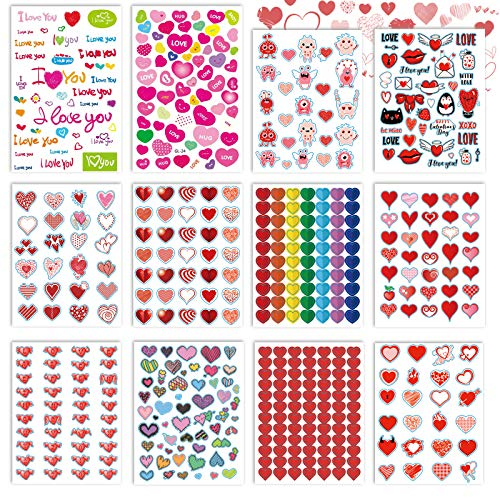 kortes Valentines Day Stickers, 544Pcs Valentines Heart Stickers , Love Decorative Sticker (12 Sheets), Pack 02
