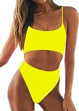 Women's Sexy One Piece Swimsuit Low Scoop Crop Top Bikini Cutout High Waisted Padded Swimwear Set
