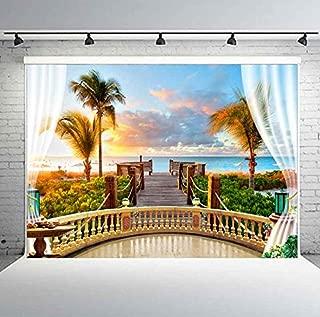 PHMOJEN 7X5ft Tropical Seaside Photography Backdrop Balcony Wood Bridge Vinyl Background Theme Wedding Birthday Party Backdrop Studio Props GEPH015