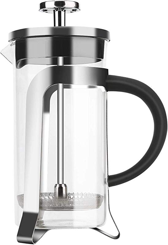 French Press Coffee Maker 350ML 12OZ With Stainless Steel Filter Loose Tea Pot Heat Resistant Borosilicate Glass For Home Office Traveling