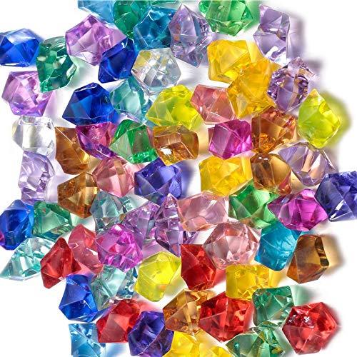 SoundZero Ca. 850 Stücke 14mm Acryl Diamanten bunt Acryl Diamant Edelsteine Bunt Transparent Kristall fur Kinder Piratenschatz, Vasen, Tischdeko, Party Mitgebsel, Hochzeit, Deko, Basteln