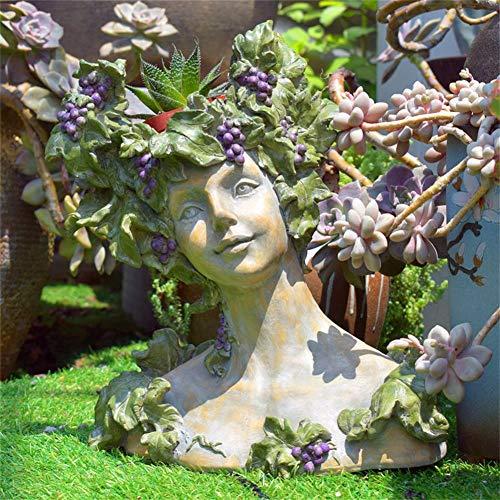 LIUSHI Kreative Göttin Kopf Pflanzer Statue Vintage Blume Utensilien Vase Garten Ornamente Gesicht Blumentopf Patio Rasen Hof Home Decoration