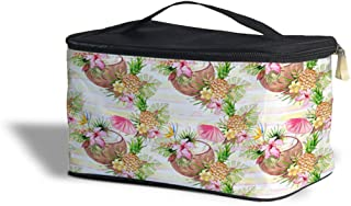 Aloha Coconut Stripes Cosmetics Storage Case - Makeup Zipped Travel Bag