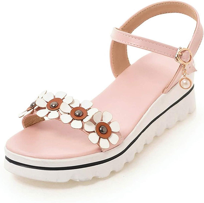Elegant Flower Platform Sandals Ladies Pearl Buckle Summer Footwear Soft Safety shoes