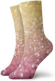 tyui7, Calcetines de compresión antideslizantes con purpurina rosa dorada rosa Calcetines deportivos acogedores de 30 cm para hombres, mujeres y niños