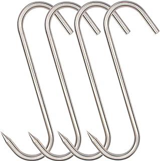 10 Inch Meat Hook,HONSHEN Heavy Duty10 mm S-Hooks Stainless Steel Meat Processing Butcher Hooks (10mm10inch)