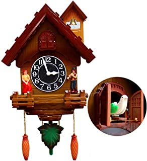 RPLW Cr/éatif Pendule Horloge Quartz,horloges Mantel,Bois Coucou Horloge,Traditionnelle Chalet For/êt Noire Maison Horloge E