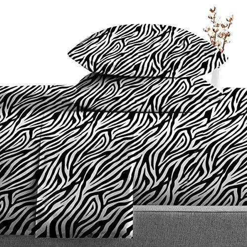 SGI bedding Twin Size Sheets Luxury Soft 100% Egyptian Cotton - Sheet Set for Twin Size39x75 Mattress Zebra Print 600 Thread Count Deep Pocket