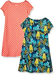 Amazon Brand - Spotted Zebra Girls' 2-Pack Knit Short-Sleeve A-Line T-Shirt Dresses