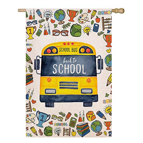 Shmbada Welcome Back to School Burlap House Flag, Premium Material Double Sided, School Supplies Yellow Bus Outdoor Yard Lawn Colorful Decorative Banner for Farmhouse Patio Porch, 28 x 40 Inch