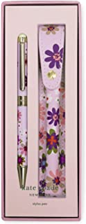 Kate Spade New York Black Ink Ballpoint Pen with Stylus Tip and Purple/Blush Floral Storage Pouch, Pacific Petals
