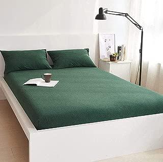 DOUH Fitted Sheet Queen,Dark Green Jersey Knit Cotton Fitted Sheet Set 3 Piece, 15