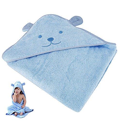 ZhongYeYuanDianZiKeJi Toalla bebé capucha grande capa de baño albornoz 90x90cm Suave algodón absorbente para Animales Sin mangas Algodón Albornoz Para Niños (Azul)