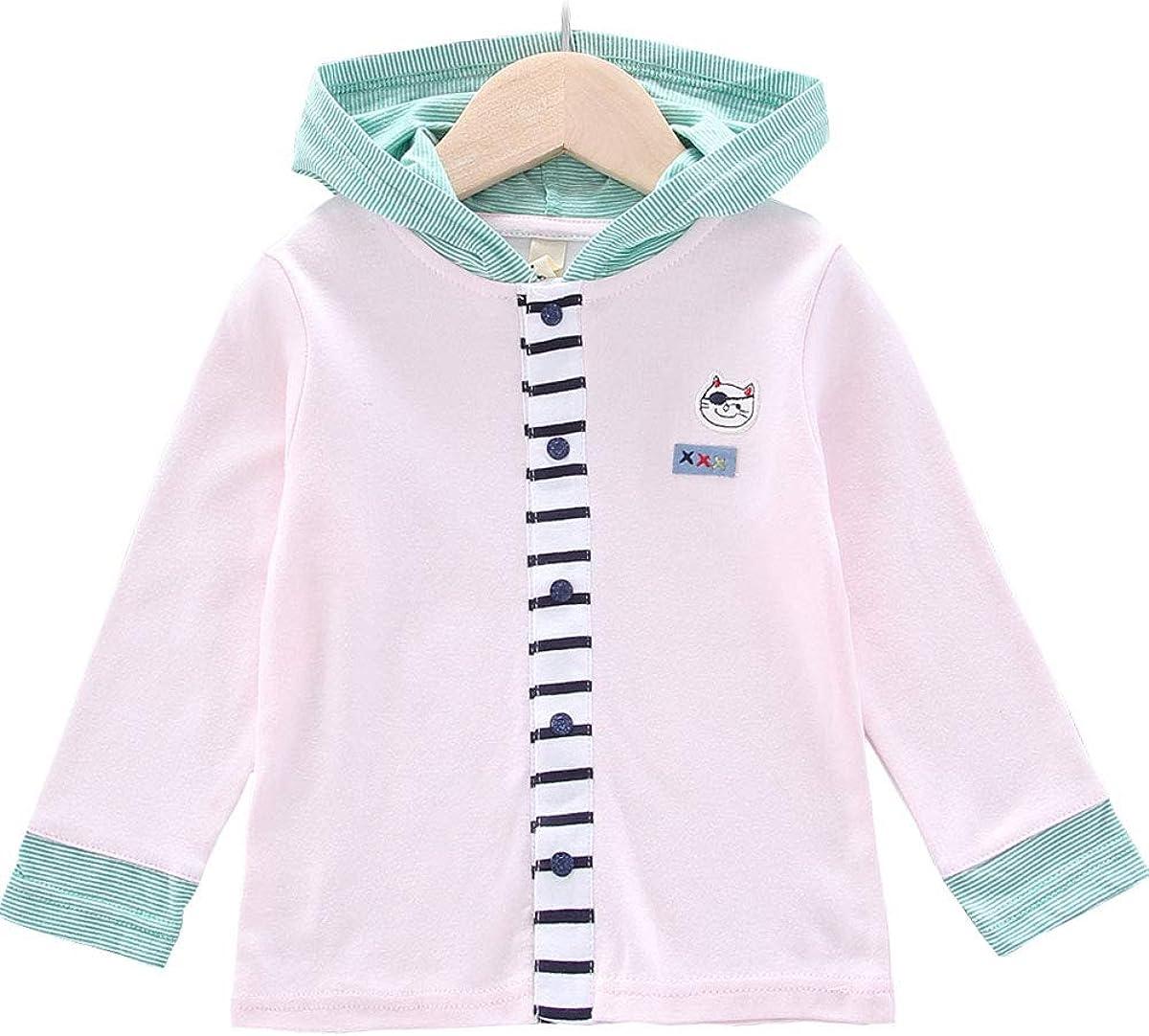 Ancia Baby Girls Toddler Kids Hoodie Coat Button Up Sweatshirt Jacket Long Sleeve T-Shirt