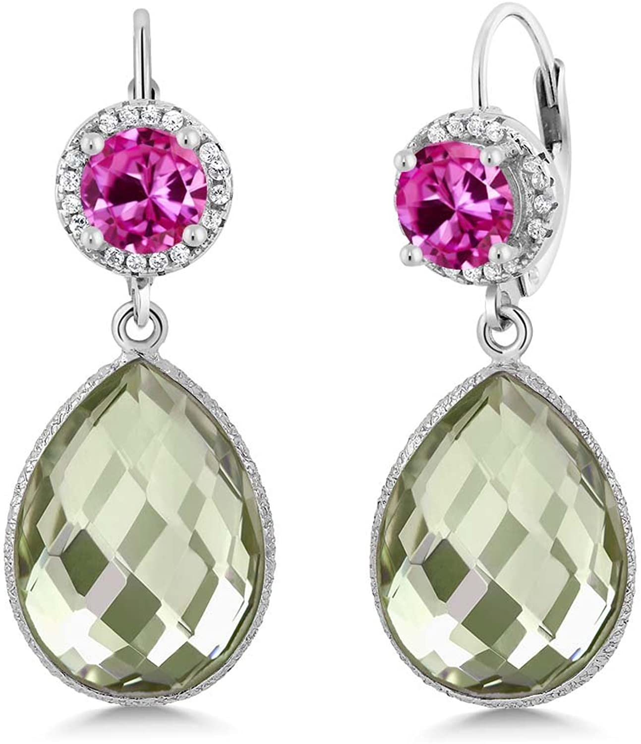 2.00 Ct Round Pink Created Sapphire Pear Amethyst 925 Sterling Silver Earrings