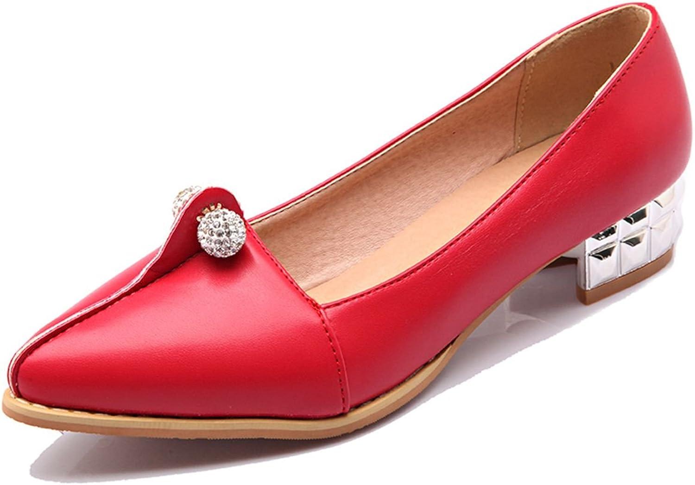 DoraTasia Ball Decoration Pointed Toe Thick Heel Slip on Platform Women's Pumps Block shoes