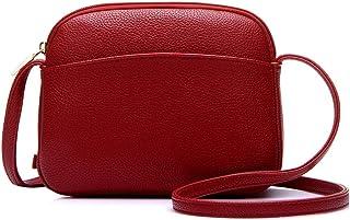 Fansport Ladies Faux Leather Crossbody Bag Waterproof Simple Zip up Fashion Shoulder Bag Solid Color Messenger Bag