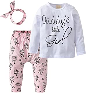 Newborn Baby Girls 3Pcs Outfit Set Letters Daddy Little Girl T-Shirt Tops Cartoon Pants with Headband